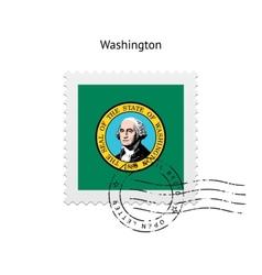 State of washington flag postage stamp vector
