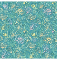 Turquoise floral pattern vector image vector image