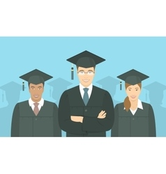 Young people graduate bachelor degree flat concept vector
