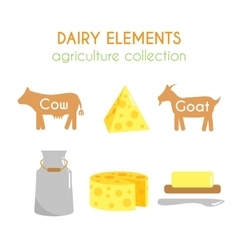 Dairy  cow and goat cartoon vector