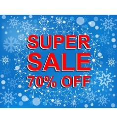 Big winter sale poster with super sale 70 percent vector