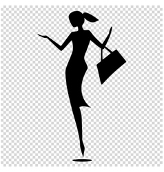 Female silhouette isolated of vector image