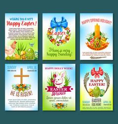 Easter holiday celebration banner template set vector