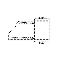 foto camera casset sign  black dashed icon vector image