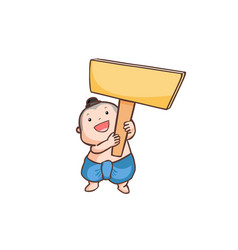 Thai boy holding a wooden board vector