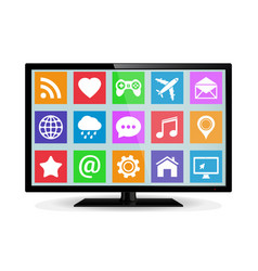 Modern lcd smart tv with application icons vector