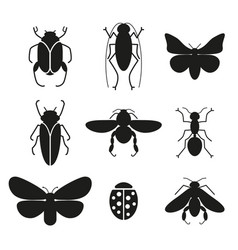 Insects set silhouette icons vector