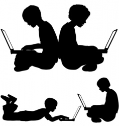 Children and laptops vector