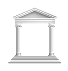 Temple front with columns vector
