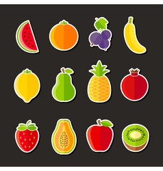 Organic fresh fruits and berries icons flat design vector