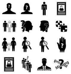 Missing person icons set vector