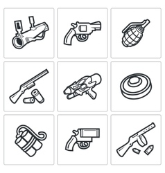 Various types of weapons icons set vector