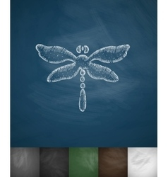 Dragonfly icon hand drawn vector