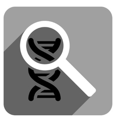 Explore dna flat square icon with long shadow vector