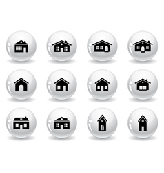 Web buttons house and buildings icons vector image
