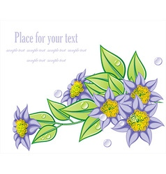 Whimsical purple floral design vector
