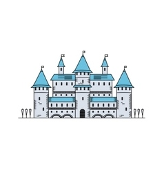 Fairy tale medieval castle line icon vector