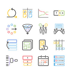 agile icon set vector image vector image
