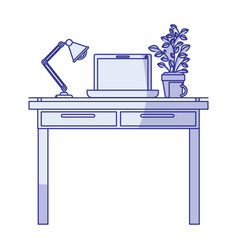blue shading silhouette of work place office vector image