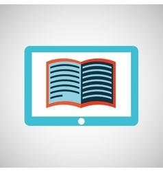 Blue tablet cartoon e-book design vector