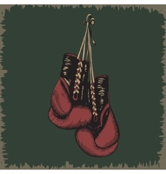 Boxing glovesvintage label vector