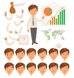 Businessman face and body elements vector
