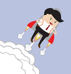 Businessman flying with rocket Successful Career vector image vector image
