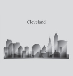 cleveland city skyline silhouette in grayscale vector image