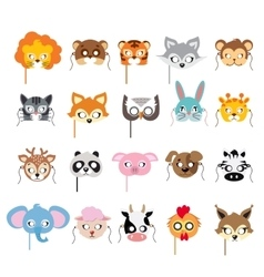 Collection of different animal masks on faces vector