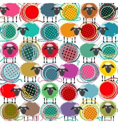 Colorful Seamless Sheep and Yarn Balls Pattern vector image vector image