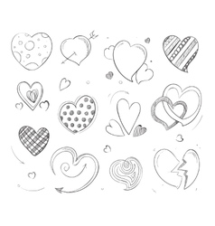 Cute doodle hearts love pencil drawn vector