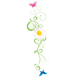 daisy curves with colour butterflies vector image vector image
