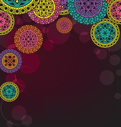 Dark background with mandalas and patterns vector image vector image