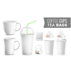 disposable paper cups and tea bags set vector image vector image