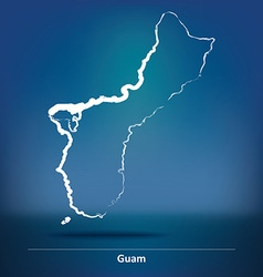 Doodle map of guam vector