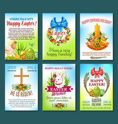 Easter holiday celebration banner template set vector