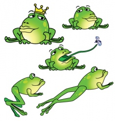 five frogs in different poses vector image