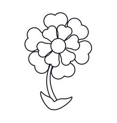 Flower ornament natural outline vector