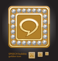 Glamour golden icon of speech bubble with diamonds vector