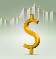 Golden dollar sign over chart vector image