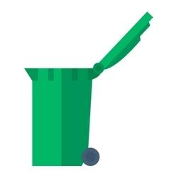 Green garbage bin vector