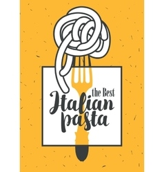 Italian pasta on fork vector