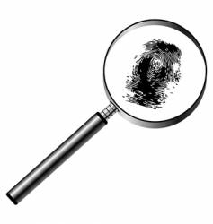 magnifying glass and fingerprint vector image vector image