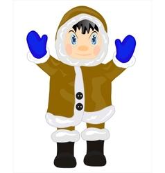 Man eskimo on white vector