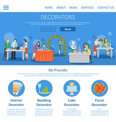 Professional decorators one page flat design vector