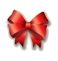 Red ribbon bow on white background vector