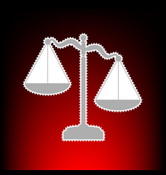 scales of justice sign postage stamp or old photo vector image vector image