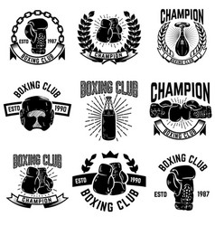 set of boxing club emblems boxing gloves vector image vector image