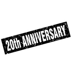 Square grunge black 20th anniversary stamp vector