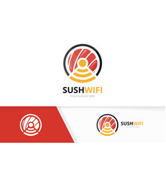 Sushi and wifi logo combination japanese vector